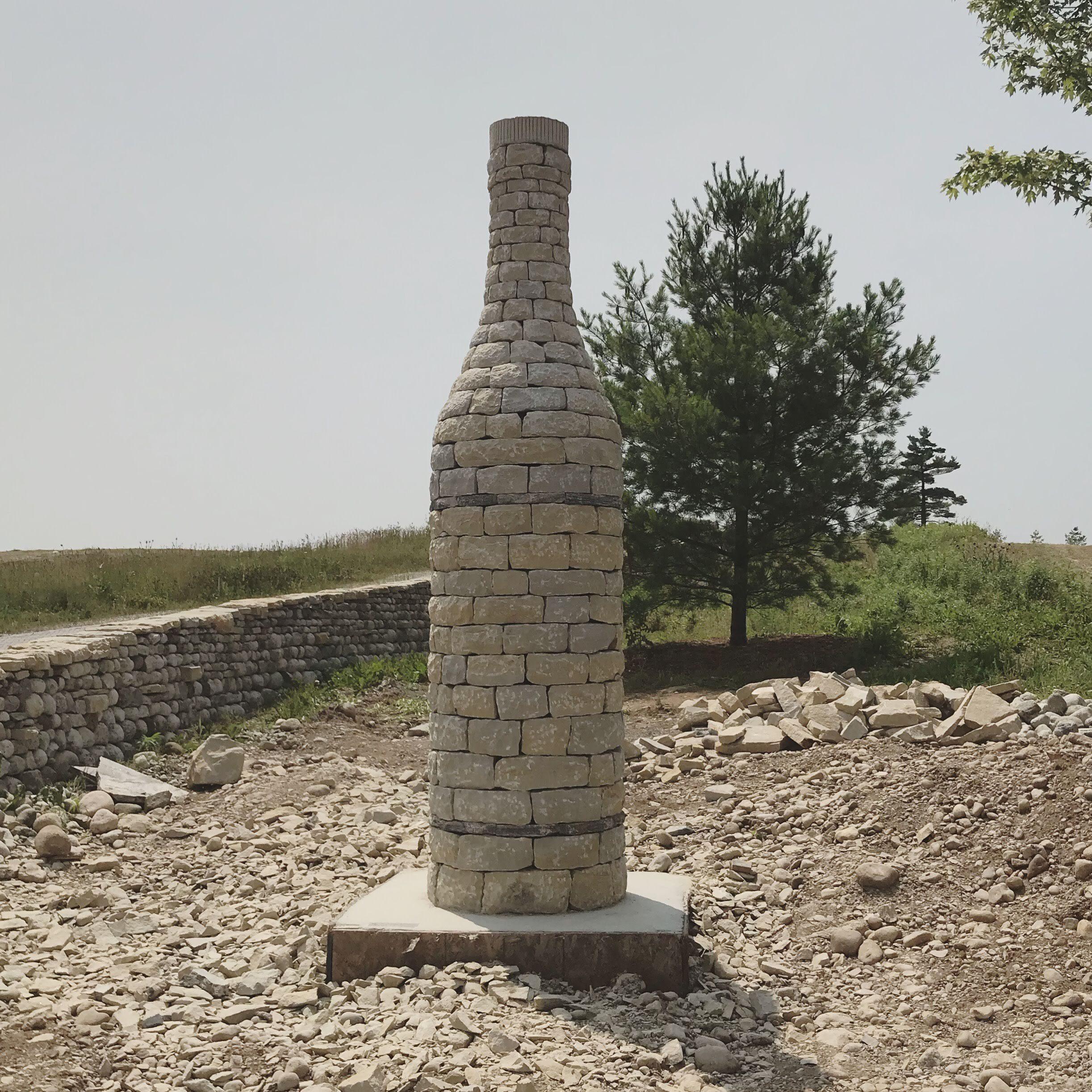 willibald distillery stone bottle sculpture