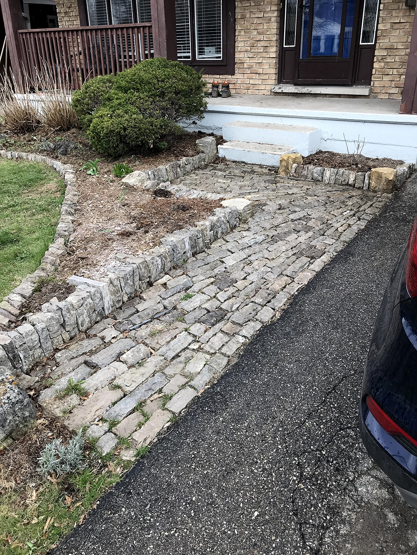 kitchener ontario stone walkway garden wall