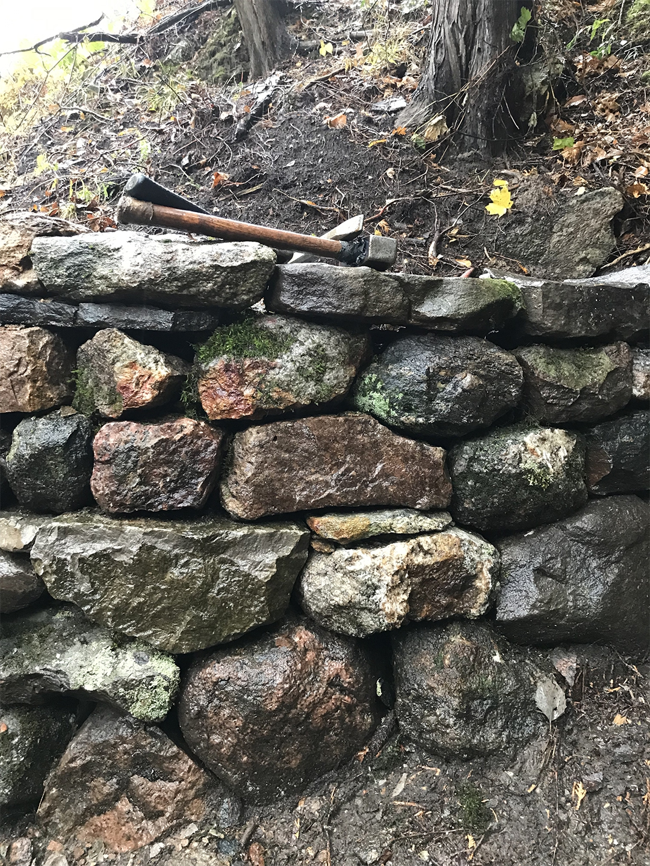 ontario foraged materials stone retaining wall